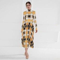 Nouvelle mode haute qualité printemps automne fête décontracté haut à col roulé ample demi-jupe Vintage élégant géométrique imprimer ensembles de femmes