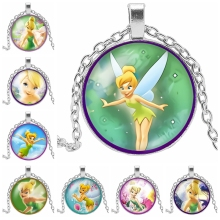 2019 New Fashion Anime Cartoon Cute Girl Elf Glass Convex Round Pendant Necklace Style