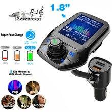 Автомобильный MP3 музыкальный плеер Bluetooth 5,0 приемник fm-передатчик двойной USB QC3.0 зарядное устройство U диск/TF карта музыкальный плеер без потерь