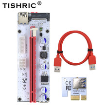 VER008S TISHRIC Riser Cartão 008 s 3 em 1 4Pin Molex SATA Adaptador PCI Express 1X 16X PCI-E 6PIN PCIE USB3.0 Extender Mineração mineiro