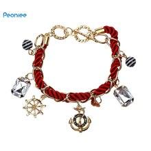 Anchor Bracelet women Rope chain charm Bracelet handmade wrap bracelet gold bracelets for women accesorios jewelry stylish anchor rope chain wrap bracelet for men