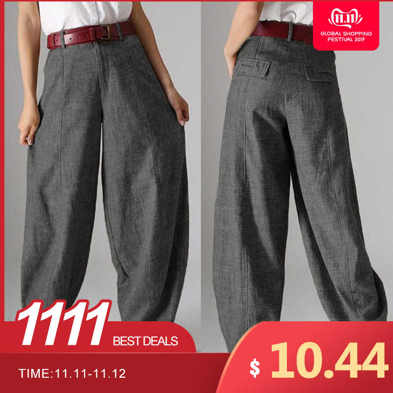Women's Autumn Trousers ZANZEA 2019 Casual Baggy Harem Pants Vintage Front Zipper Pantalon Cropped Pant Woman Palazzo Oversized