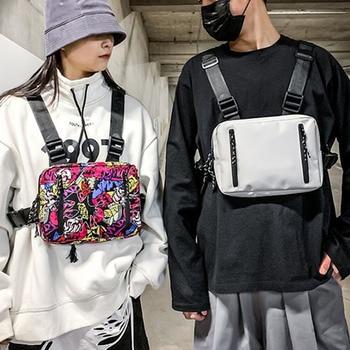 ins tide brand tooling function tactical waist bag men's street hip-hop vest bag cool wind ladies front back chest bag