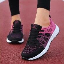 Sapatos femininos apartamentos moda casual senhoras sapatos mulher rendas-up malha respirável tênis femininos zapatillas mujer