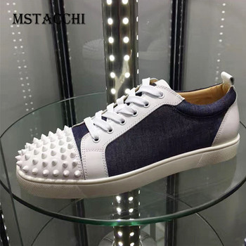 MStacchi 2020 New Classics Men Leisure Shoes Rivet Lace-Up Leather High Quality Male Sneakers Outdoor Walking Flat Men Footwear