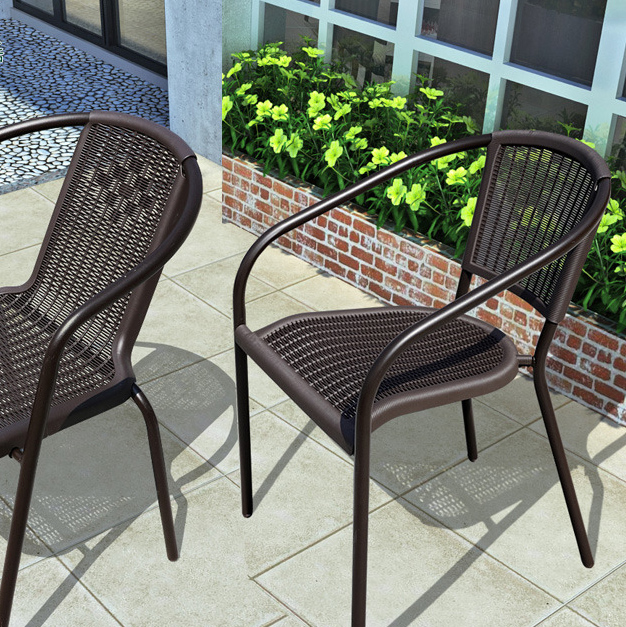 Home Outdoor Chair Garden Leisure Stool Wrought Iron Tea Shop Catering Outdoor Table And Chair Back Chair Wicker Chair