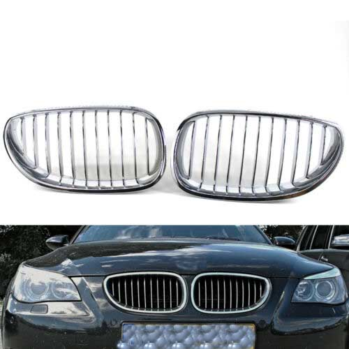 Dasing Glossy Chrome Diamond Mesh Grille Grill for E60 E61 M5 Front Kidney Twin FIns Grille 5 Series 520I 535I 550I 2003-2010