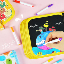 Kids Crafts Portable Water Drawing Board Book Board Scratch Coloring Book DIY Blackboard Painting