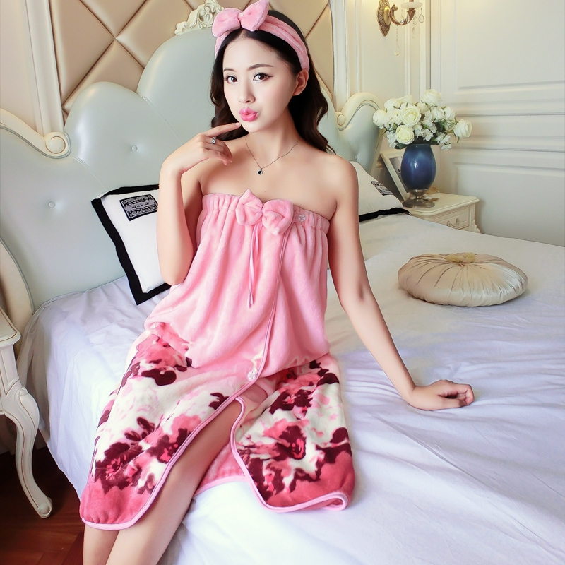 Thick Warm Flannel Sexy Wrap Chest Bath Towel Robes Women Winter Coral Velvet Sleepwear Tube Top Bathrobe Nightgowns Night Dress