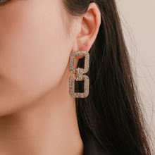 New Fashion Long Geometric Women Earrings Glamour Crystal Drop Girls Party Wedding Jewelry Accessories