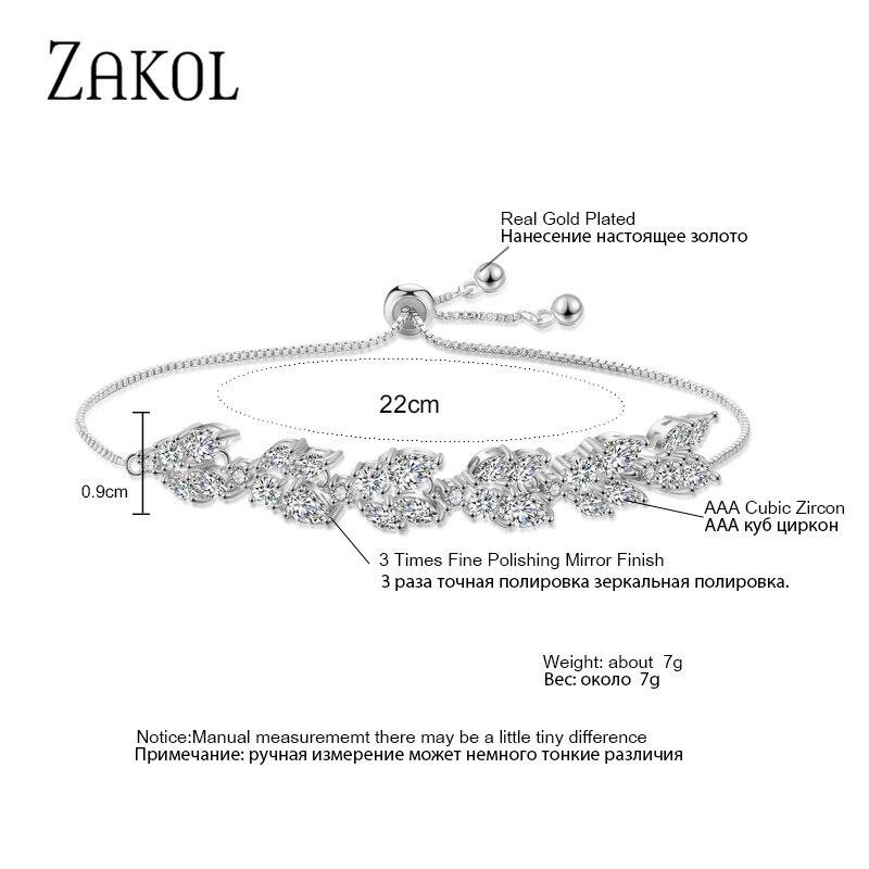 ZAKOL High Quality White Cubic Zirconia Leaf Adjustable Bracelets For Women Fashion Bridal Wedding Party Jewelry FSBP2159