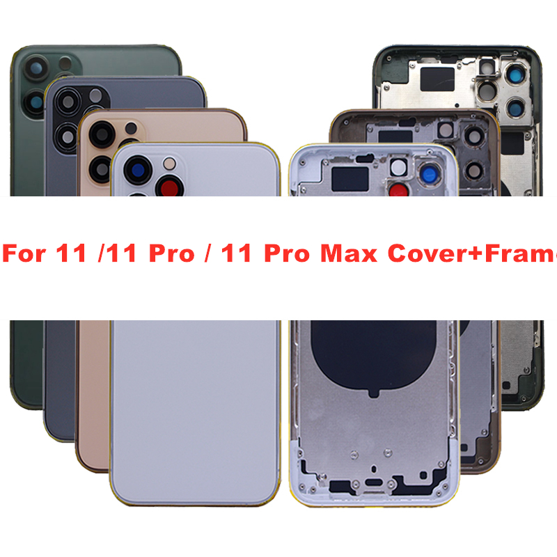 AAA+ High quality Back Cover For Iphone 11/ 11 pro / 11 pro Max Housing Cover Battery cover Rear Door Chassis Middle Frame|Mobile Phone Housings & Frames|   - AliExpress