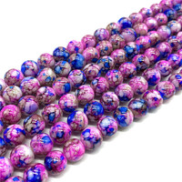 Wholesale 6 8 10mm  Exquisite  pattern glass bead spacer jewelry Bulk Beads For DIY Making Bracelet Necklace Jewelry #01