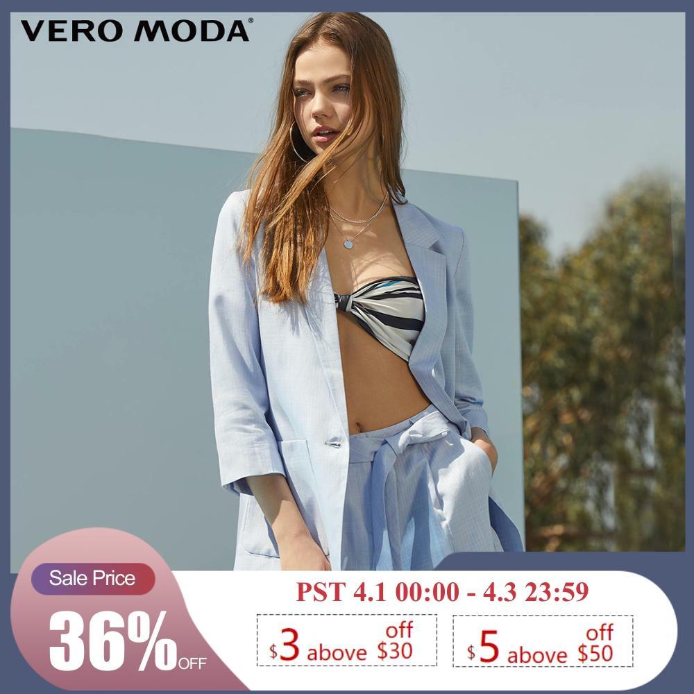 Vero Moda Women's Linen Lapel Plaid One-button Blazer   319208519
