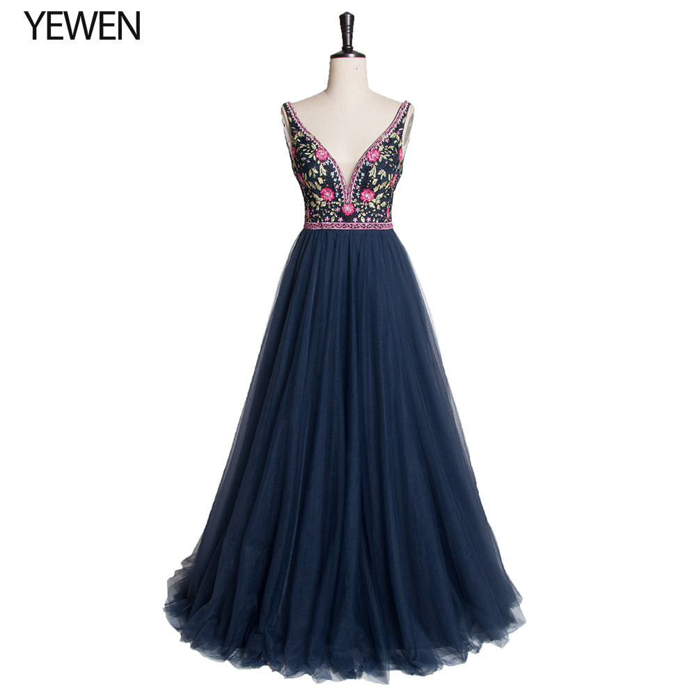 Embroidery Long Prom Dresses 2020 Elegant A Line V Neck Tulle Wedding Party Gowns With Sequin Vestidos De Fiesta Elegantes