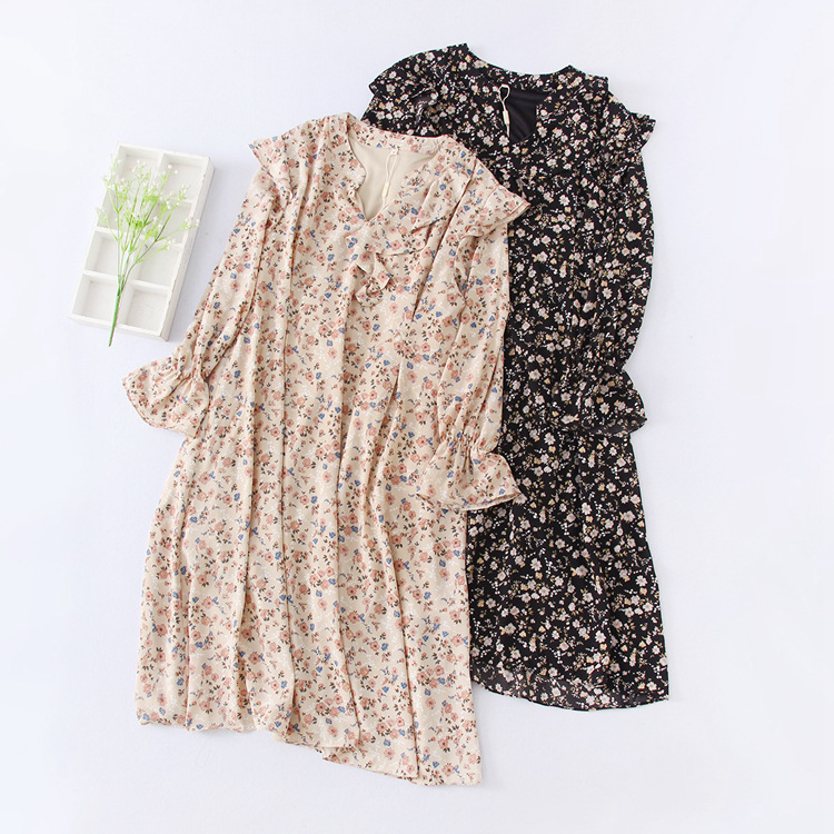 Spring And Autumn Ruffled Collar Floral Dress Casual Long Skirts D-1006