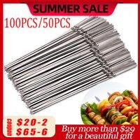 100pcs/50pcs 스테인레스 스틸 꼬치 야외 캠핑 피크닉 도구에 대 한 재사용 가능한 플랫 바베큐 꼬치 바베 큐 바늘 스틱