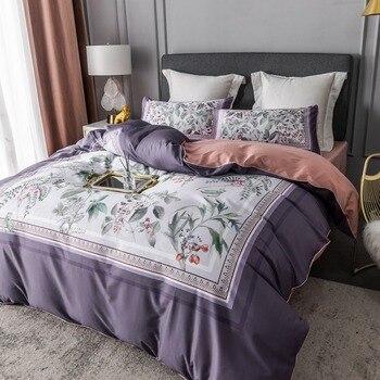 TUTUBIRD Europe Egyptian cotton bedding set Soft Satin floral pastoral linen strawberry leaf cactus print duvet cover bedspread