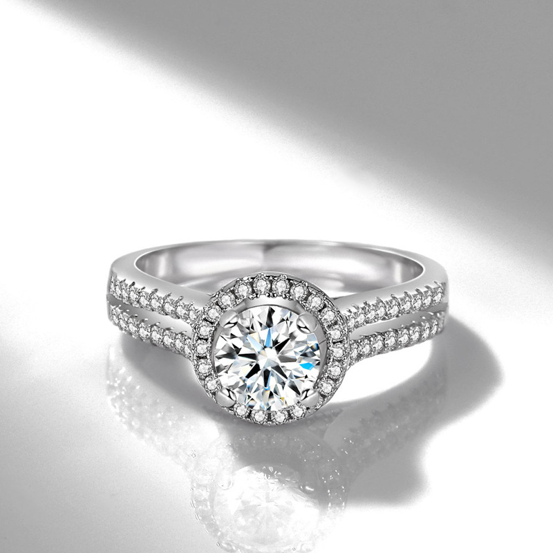 14K White Gold 80 Point Diamond Rings For Women Double Row Ball Four Claw AAA Zircon Diamond Gemstone Ring Fine Jewelry Gifts