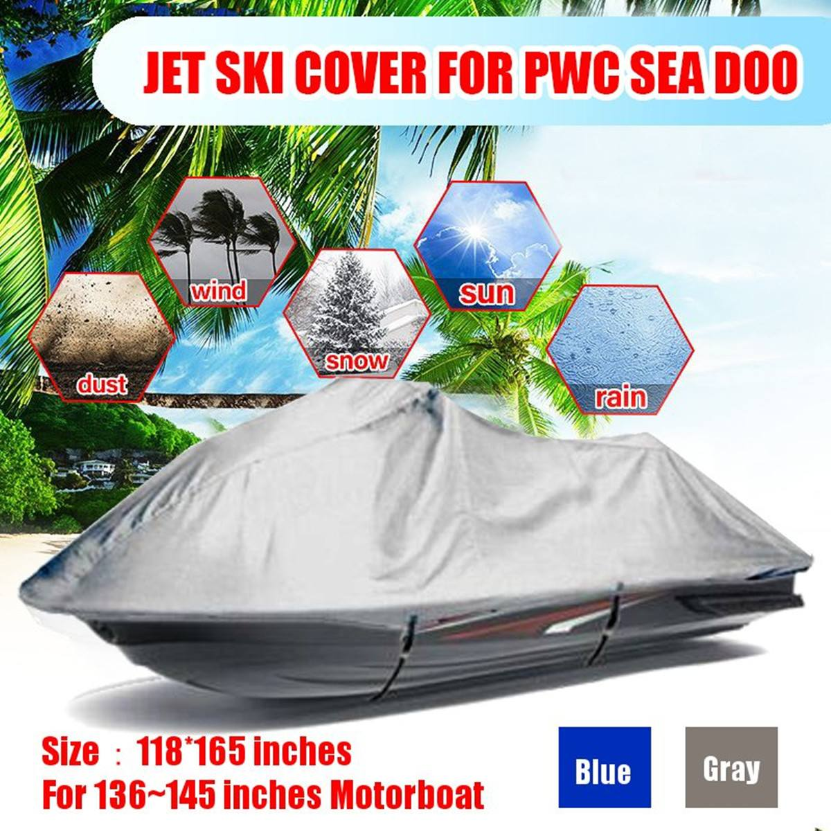 4.2x3m Waterproof Trailerable Boat Cover Jet Ski Outboard Motor Hood Cover  Engine Protector 210D Oxford Cloth