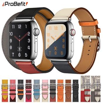 100% натуральная коровья кожа Петля Браслет ремешок для Apple Watch 5 4 42 мм 38 мм 44 мм 40 мм ремешок для iWatch 5 4 3 2 1 браслет