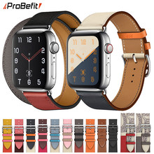 100% genuíno couro de vaca loop pulseira cinto banda para apple watch 6 se 5 4 42mm 38mm 44mm 40mm cinta para iwatch 6 5 4 pulseira