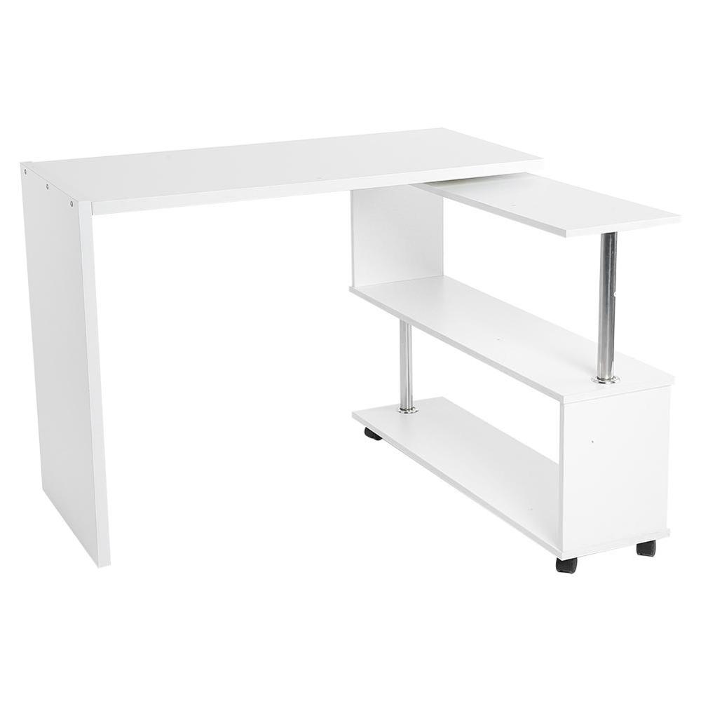 L-shaped Computer Desk Corner PC Table Workstation Home Office Study w// Shelves