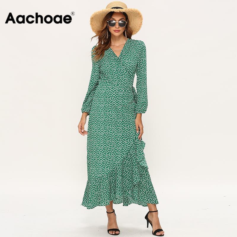 Aachoae 2020 Women Long Bohemian Dresses Sexy V Neck Split Floral Print Maxi Beach Dress Long Sleeve Ruffle Dress Vestidos Mujer