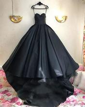 Женское свадебное платье черное в готическом стиле атласное