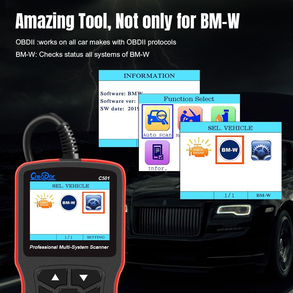 Creador C501 OBD 2 diagnóstico de coche para BMW e46 e39 e90 e60 escáner de diagnóstico lector de código AC EPS servicio de aceite restablecer EPB ABS Airbag - 3
