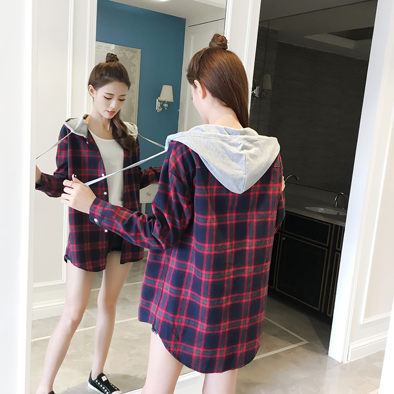 Milinsus Casual Plaid Women   Blouses   Korean Student Hooded Plaid   Shirt   Female Long Sleeve   Shirts   Loose Camisa Tops Autumn