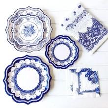 Disposable Party Set Blue and White Porcelain Paper Plate Napkins Wedding Festive Home Party Decoration Supplies
