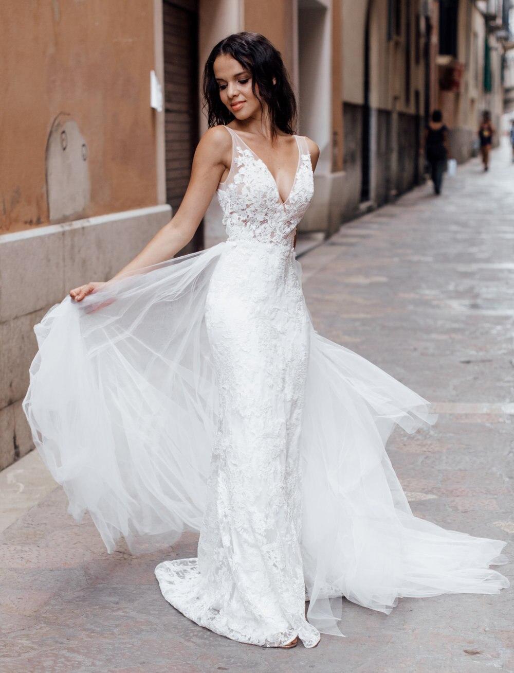 Elegant Mermaid Ivory White Wedding Dress Lace V Neck Robe De Mariee Sofuge Dubai Arabic Abiti Da Sposa Detachable Train