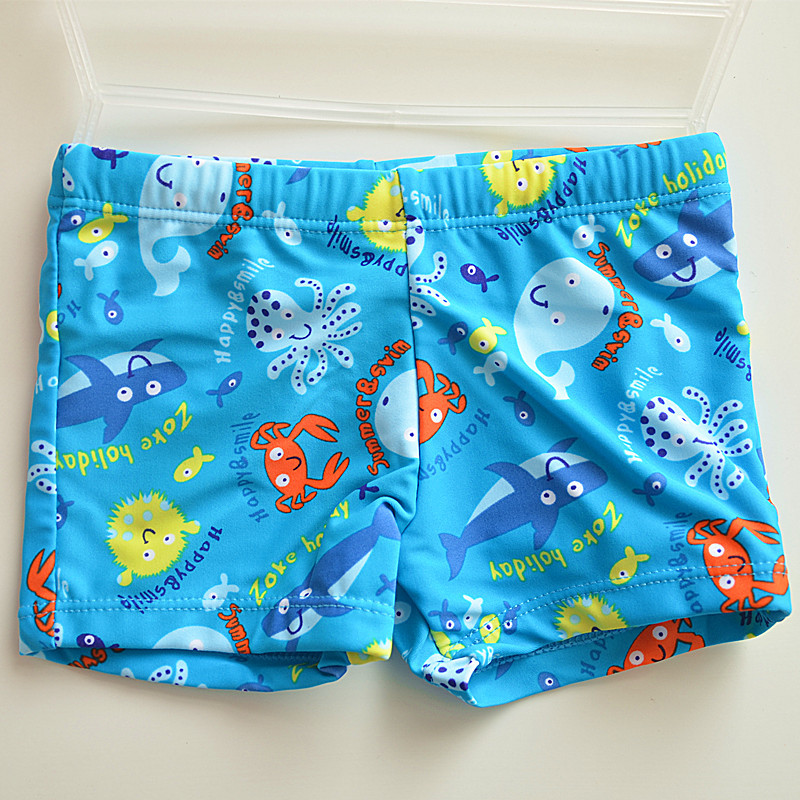 Blue Furry Ball Small Fish CHILDREN'S Swimming Trunks Cute Boy Students Infants Small Children Swimming Hot Springs AussieBum