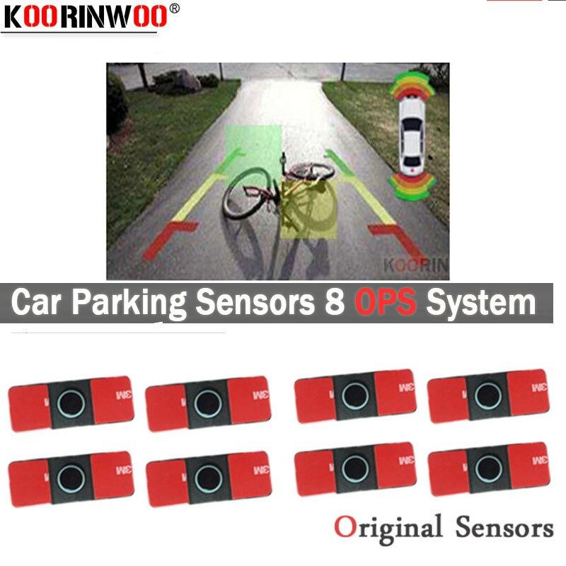Otomobiller ve Motosikletler'ten Park Sensörleri'de Koorinwoo evrensel Parktronics OPS Video sistemi ön + arka araba park sensörleri 8 alarmı Probe Buzzer dikiz RCA araç DVD oynatıcı title=