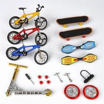 Mini monopatín para el dedo diapasón BMX bicicleta conjunto diversión patines tablas Mini bicicletas juguetes para niños regalos niños Juguetes