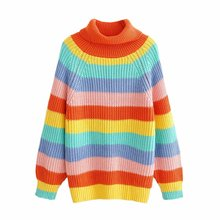 Oversize women stripe rainbow knitted sweater ladies vintage street-wear turtleneck knitwear pullovers female feminine tops