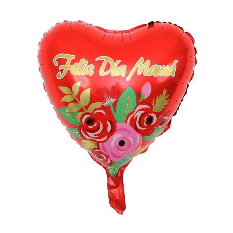10 pçs 18 polegada impresso feliz día mamá balões da folha dia das mães forma do coração eu amo você mama balão presentes decorações de aniversário