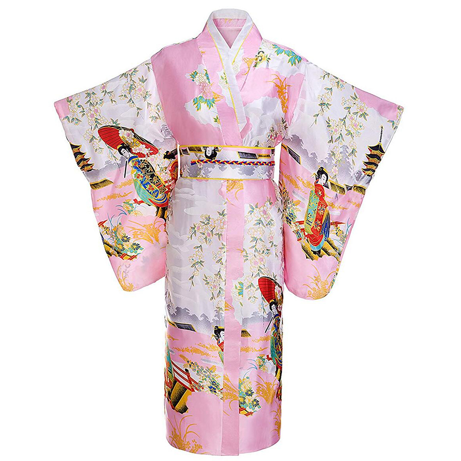 Full Sleeve Traditional Women Japanese Kimono Bathrobe Gown Print Performace Clothing Satin Evening Party Prom Dress Gown