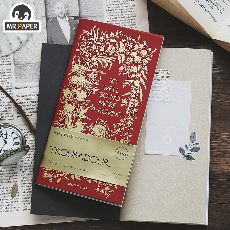 Mr.Paper 8 Designs Troubadour Plants Delicated Schedule Book Study Recording Journal Monthly Weekly Daily Planner Easy To Carry