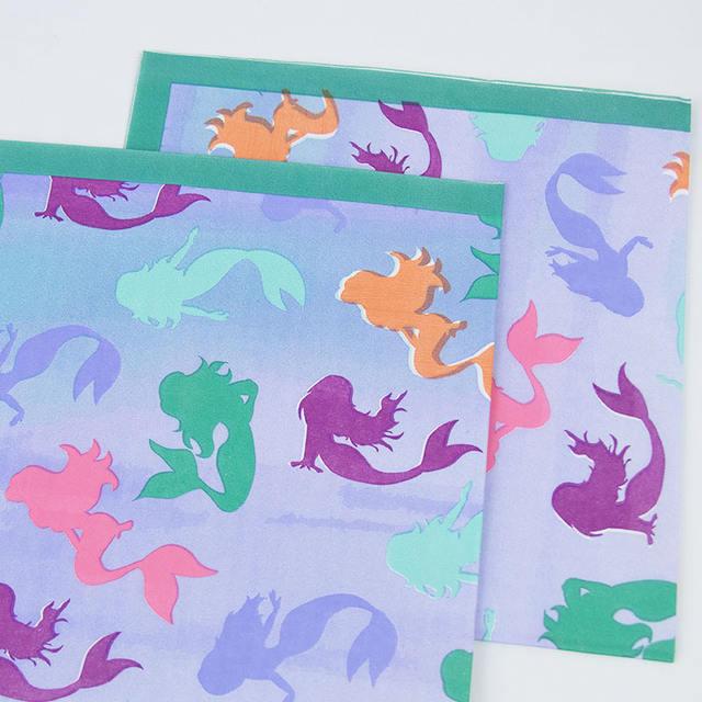 Mermaid Printed Napkin Set 16 Pcs