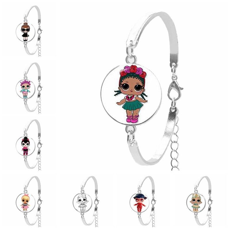Hot! / Ladies Bracelet Art Cartoon LOL Cute Baby Flash Princess Glass Convex Round Silver Chain Bracelet Children's Gift Jewelry