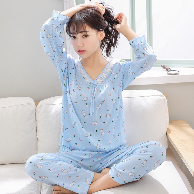 Summer Pajamas Faux Silk WOMEN'S Long Sleeve Korean-style Bourette Tracksuit Piece Artificial Cotton Air Conditioning Clothes Ul
