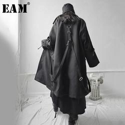 Женское ассиметричное пальто EAM, черная длинная куртка с длинным рукавом и пряжкой, с отворотом, весна 2020, 1S655