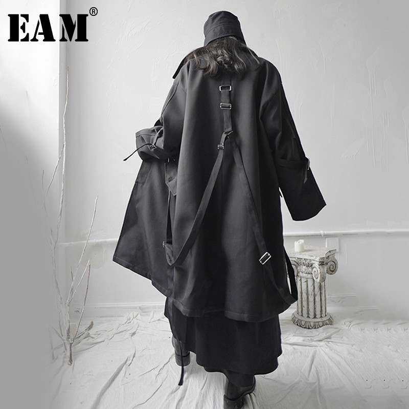 [EAM] Loose Fit Black Buckle Asymmetrical Big Size Long Jacket New Lapel Long Sleeve Women Coat Fashion Tide Spring 2020 1S655