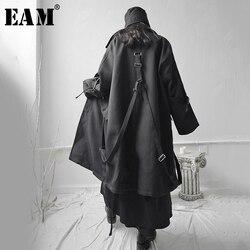 [EAM] Loose Fit Black Buckle Asymmetrical Big Size Long Jacket New Lapel Long Sleeve Women Coat Fashion Tide Spring 2020 1S655