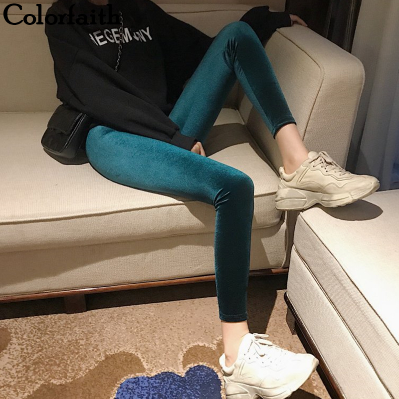 Colorfaith New 2019 Autumn Winter Women Pants Minimalist Skinny Pencil Slim High Waist Korean Style Ankle-Length Pants P5791