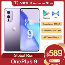 Global rom oneplus 9 5g smartphone snapdragon 888 android 11 6.55 'fluid 4500 mah 120hz fluido amoled nfc oneplus9 telefone móvel