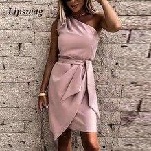 2021 primavera elegante de um ombro mini vestido feminino vintage arco sólido irregular vestido de festa escritório senhoras casual vestido sem mangas