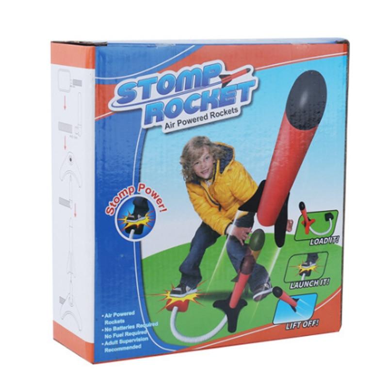 Children Pedal EVA Soft Ball Light Rocket Laucher Ejection Emission Flying Gun Rocket Laucher Outdoor Toy Wholesale